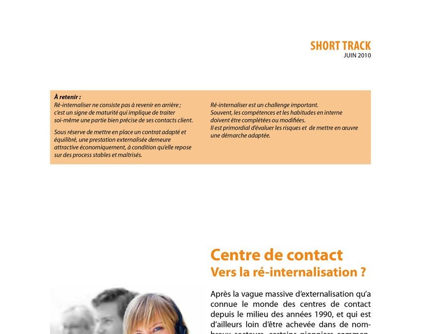 Centre de contact vers la ré-internalisation ?