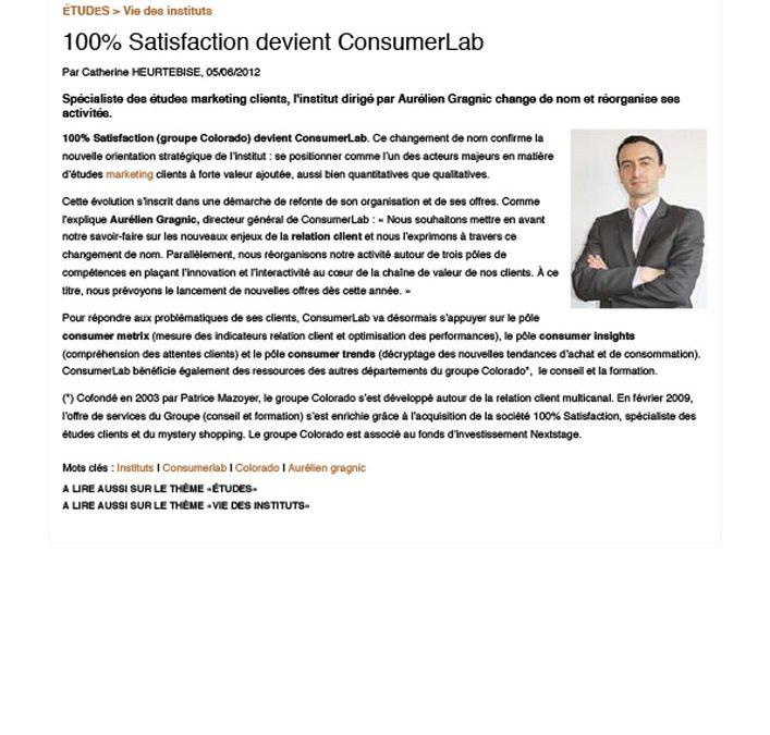100% Satisfaction devient ConsumerLab